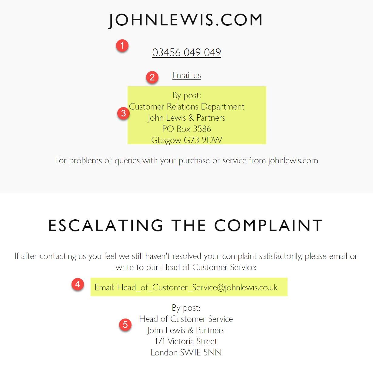 john Lewis complaints process